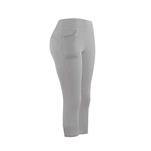 Linkay Damen Doppeltaschen Sport Leggings 3/4 Yogahose Sporthose Laufhose Training Tights mit Handytasche Fitnesshose mit Taschen (Grau,Small)