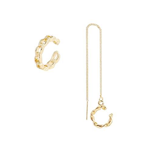 Pendientes, Pendientes De Cadena Larga para Mujer, Pendientes De Gota De Oro con Enhebrador para Mujer, Pendientes De Doble Perforación, Pendientes De Hilo