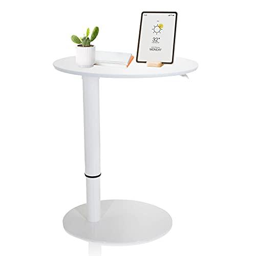 hjh OFFICE 830055 Stehtisch höhenverstellbar Stand III Weiß Beistelltisch Pult mit Gasfeder, Höhe bis 104,5 cm