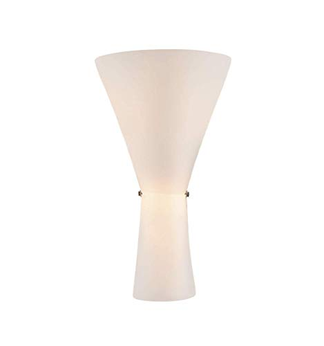 KOSILUM - Torche murale en verre opalin blanc 2xE14 - Tokyo - Lumière Blanc Chaud Eclairage Salon Chambre Cuisine Couloir - 2 x 60W - - E14 - IP20