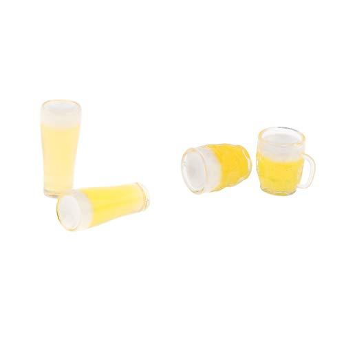 Fenteer 4 Pcs Miniatur Bierkrug Bierglas Tasse für 1:12 Puppenhaus Zimmer Deko Zubehör