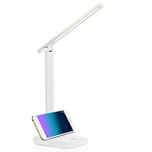 Lámpara de Escritorio LED,Lámparas de Mesa con 3 Modos y Brillo Regulable, Lámparas de Mesa USB Recargable Control Táctil y Plegable Lámpara de Escritorio LED para Leer,Estudiar y Cuidado de Ojos
