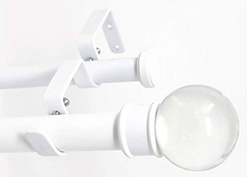 """Urbanest Crystal Ball Flat Button 1"""" 3/4"""" Double Drapery Curtain Window Rod Set - 84"""" to 120"""", White"""