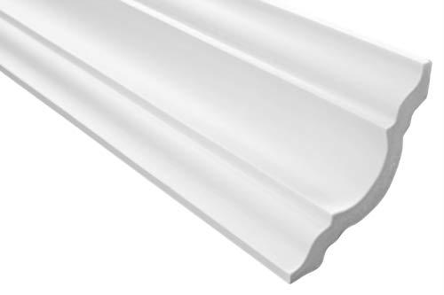 Zierleisten Sparpaket E-15 | leicht und stabil | extrudiertes Styropor | Stuckprofile | Decken-/ und Wandübergang | modern weiß | dekorativ | XPS | 80 x 80 mm | 100 Meter