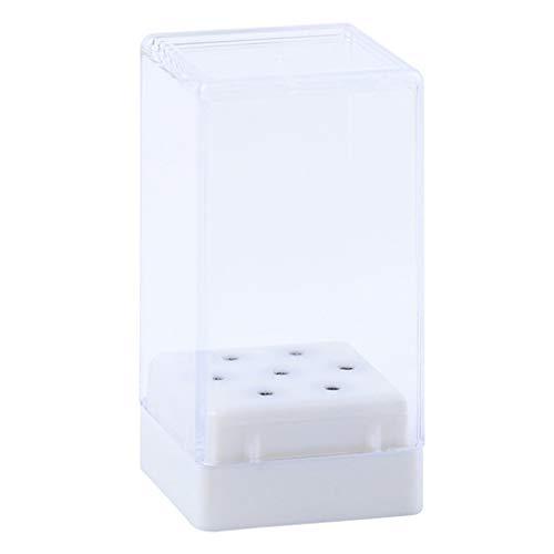 Bonarty Caja de Almacenamiento de Brocas para Uñas de Primera Calidad, Contenedor de Soporte de Exhibición de Cabezal de Pulido - Blanco frio