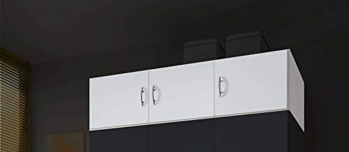 AVANTI TRENDSTORE - Balu 2 e 3, Armadio Superiore, componimento per l'armadio Principale, con Ante, in 2 Diversi Colori e 2 Diverse larghezze (Bianco, con 3 Ante)