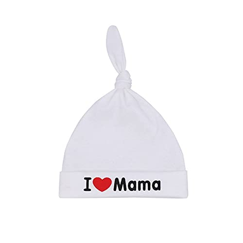 Otoño Primavera Sombrero de bebé Niños Niños Sombreros de Punto Algodón Capó recién Nacido Bebés para niñas Niños Gorras-White Mama