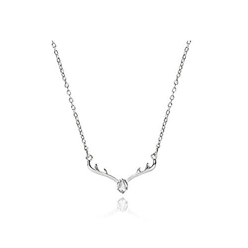 zxb-shop Collar Collares de Plata esterlina exquisitas para Wome Light Lighty Clavícula Colgante Collar Creativo asta de diseño de joyería Collar Mujer (Color : White)