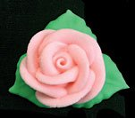 Item#38769 - Pink Rose W/3 Leaves Royal Icing Cake/Cupcake Decorations 12 Ct