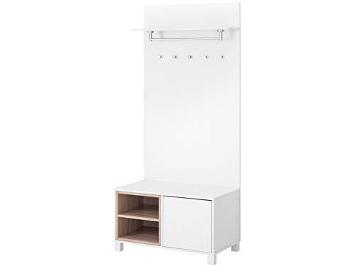 Loft 24 A/S Kompaktgarderobe Dielenschrank Garderoben-Set Flurmöbel Landhausstil MDF Sitzbank 1 Tür 1 Paneel 80 x 49 x 180 cm weiß/eichefarben