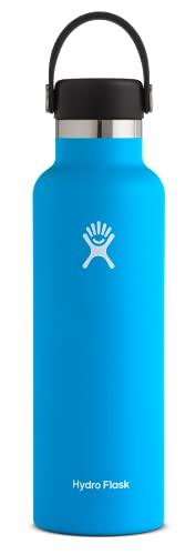 Hydro Flask Gourde isotherme 621 ml (21 oz) en acier inoxydable avec isolation sous vide et bouchon Flex Cap étanche, goulot standard, Pacific