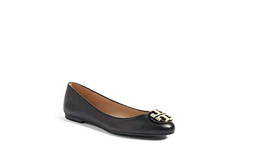 Tory Burch Womens Claire Ballet Flat, Tumbled Leather, Black/Gold (9 M US)