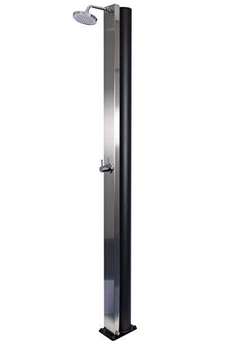 VanFlake Solardusche Watermixer 30 Liter aus Aluminium, für Warm- und Kaltwasser Dusche als Gartendusche, Pooldusche, Außendusche, Outdoordusche, in Edelstahloptik