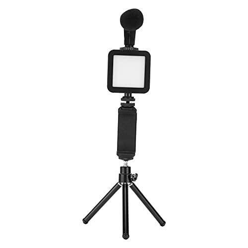 PUSOKEI Kit de vlogging portátil, Kit de luz de Video LED con Temperatura de Color Dual, Chip de reducción de Ruido, Esponja a Prueba de Viento, Kit de vlogging de Video para transmisión en Vivo