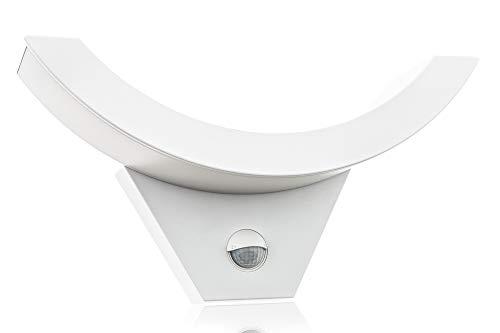 HUBER Lámpara de pared LED con detector de movimiento, 140°, 10 W, 800 lm, IP54, lámpara de exterior con sensor de movimiento, lámpara de pared interior, curvada, color blanco