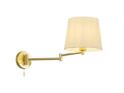 Schwenkbare LED Wandlampe mit Gelenkarm in Messing matt, Stoffschim in Weiß und Zugschalter