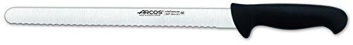 Arcos Serie 2900, Cuchillo Pastelero Flexible, Hoja Serrada de Acero Inoxidable Nitrum de 300 mm, Mango inyectado en Polipropileno Color Negro