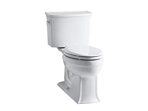 KOHLER K-3551-0 Archer Comfort Height Two-Piece Elongated 1.28 GPF Toilet with AquaPiston Flush Technology and Left-Hand Trip Lever, White