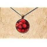 Himbeer-Anhänger, Beeren-Halskette, Fruchtschmuck