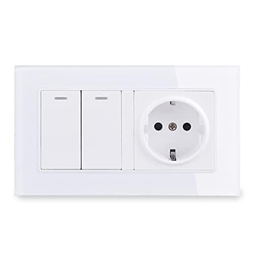 YUANJING-Interruptor de pared de marco de vidrio con conexión a tierra + interruptor de luz de encendido y apagado de 146 x 86 mm (voltaje clasificado: 110-250 V, tipo: blanco)