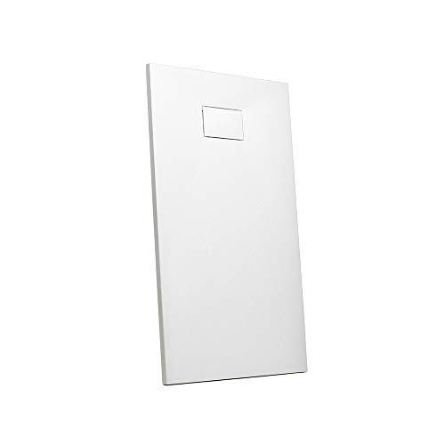 Parama Piatto Doccia 80x80 Effetto Pietra Bianco Quadrato in SMC Riducibile Piletta Inclusa