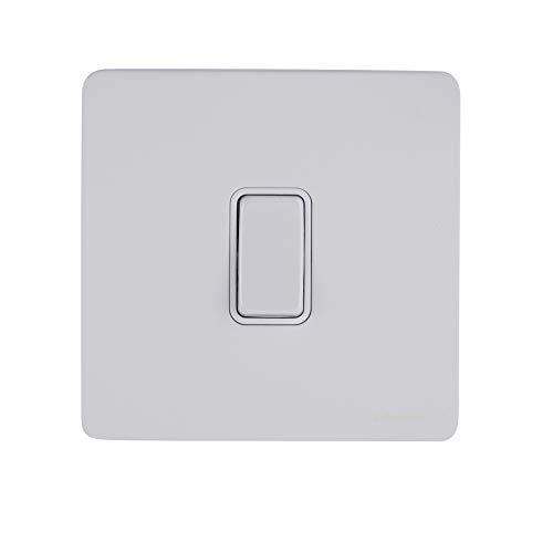 Schneider Electric Ultimate Placa plana sin tornillos – Interruptor de luz individual doble poste, 20AX, GU2410WPW, pintado blanco con inserto blanco