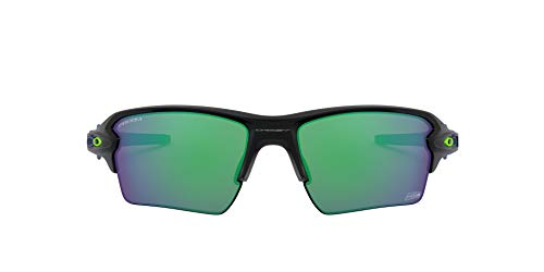 NFL Seattle Seahawks Men's Flak 2.0 XL Rectangular Sunglasses, Matte Black/Prizm Jade, 59mm