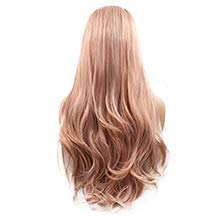 Sylvia Peach Pink Lace Front Wigs Long Curly Wave Layered Dusty Pink Heat...