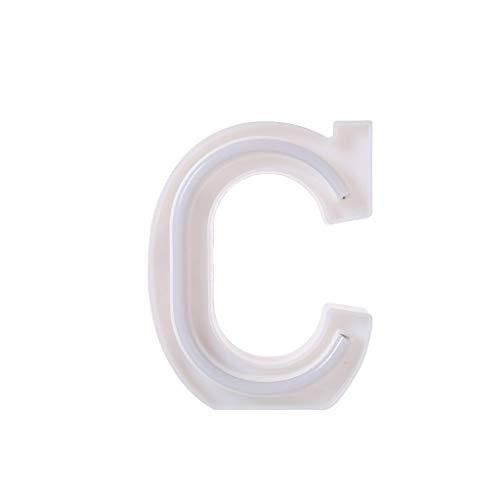 Hunpta@ letras del alfabeto luces LED con luz blanca de plástico para colgar de pie A-Z &, Cloruro de polivinilo., Rosa, C