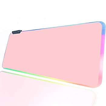 RGB Gaming Mouse Pad Pink  PC XL Large Extended Glowing Led Light Up Desk Pad Non-Slip Rubber Jmiyav Base Computer Keyboard and Mouse Pad Big Cool Cute Mousepad Mat Optimized for Gamer 31.5x12