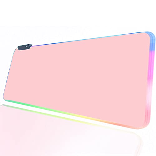 Pink RGB Gaming Mouse Pad , XL Large Extended Glowing Led Light Up Mousepad Non-Slip Rubber Jmiyav' Base Computer Keyboard Pad Mat for Gamer, 31.5 x 12 Inch