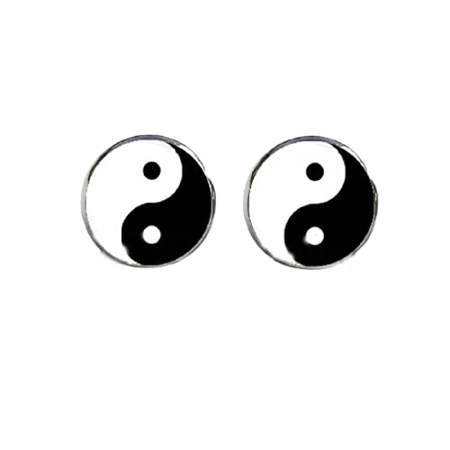 Yin Yang Pendientes Ying Yang Ear Stud Magic Sign Zen Pendientes de cristal Cabujón Pendientes