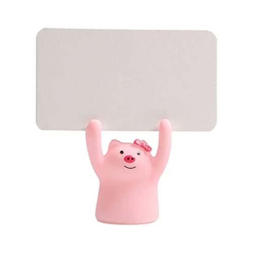 Moosunsa Bonitos dibujos animados de cerdo, soporte para notas y notas de resina, estatua de animal, organizador de fotos, para el hogar, oficina, escritorio, decoración