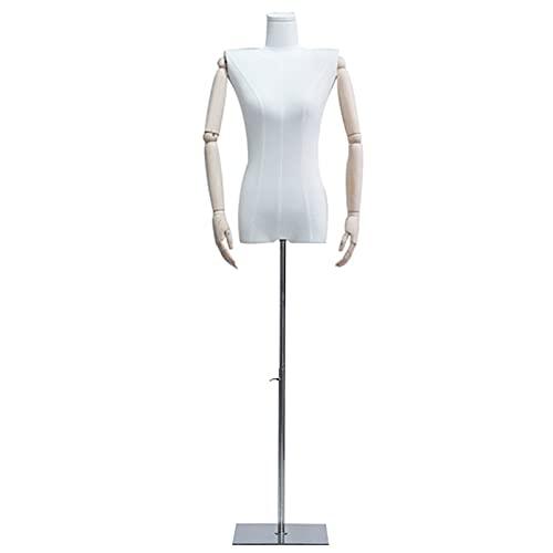YSJX Mujer Maniqui Torso Ajustable Busto de Señora para Costura, Maniquí de Exposición para Modistas Metálico Base, Desmontable, para Escaparates (Size : Square Silver)