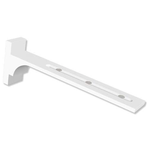 INTERDECO Wandträger/Wandwinkel Langloch 6,5-18,5 cm Abstand (variabel) Weiß für Gardinenschiene/Innenlaufprofil 20 mm Ø Variax