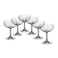 CRISTALICA Sektschale 6er-Set Schaumweinschale Champagner Kristallglas 280ml Panto Floral