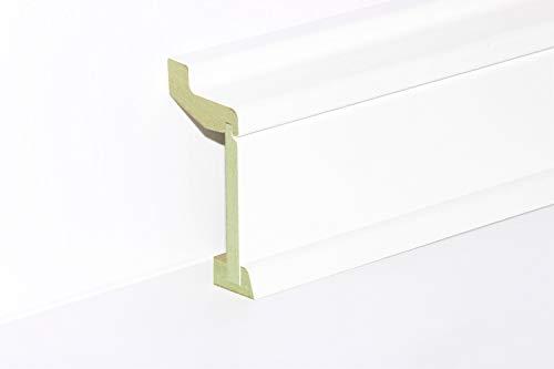 KGM Rohrverkleidung weiß Mittelteil klein | Modern Rohrabdeckung weiss ✓Innenmaß 40x81mm ✓Außenmaß 60x113mm ✓MDF feuchtehemmend | benötigtes Ober- & Unterteil separat erhältlich | Länge 2.4m