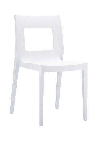 CLP Kunststoff-Gartenstuhl Lucca XXL   Pflegeleichter Stapelstuhl für den Innen-und Außenbereich erhältlich, Farbe:weiß