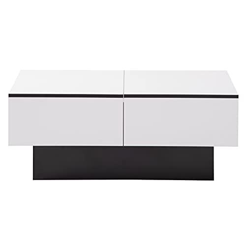 Betos Universeller Sofatisch, Wohnzimmer , Hochglanz mit ausziehbarem Tisch und Stauraum (weiß)