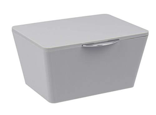 WENKO Aufbewahrungsbox mit Deckel Brasil Grau - Aufbewahrungskorb, Badkorb mit Deckel, Kunststoff (TPE), 19 x 10 x 15.5 cm, Grau
