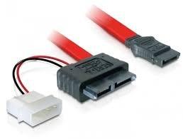 DeLock kabel SATA Slimline socket + 2-pins Power > SATA kabel 1 x SATA 7 + 6-polige/bus + 1 x 2-polige stroom/stekker op 1 x SATA 7 pol 0.3 m (2, adapter)