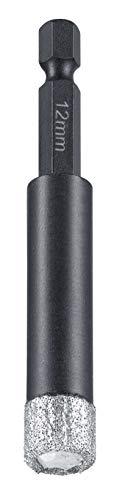 kwb Diamant Fliesen-Loch-Bohrer für Bohrmaschinen, Lochsäge mit E 6.3-Aufnahme, Diamont-Bohrkrone Durchmesser 12 mm