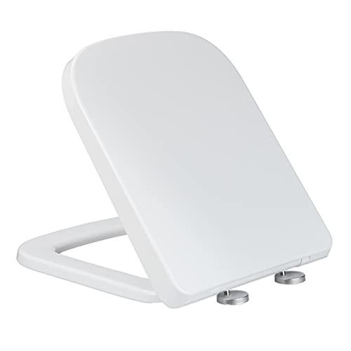 Relaxdays Toilettendeckel mit Absenkautomatik, BxT 35 x 43 cm, 2-Wege-Montage, WC Sitz abnehmbar, eckig, Duroplast, weiß