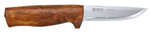 HELLE Couteau d'extérieur en Acier Inoxydable 3 Couches - Manche en Bouleau de veinier - Protection des Doigts - Fourreau en Cuir Marron