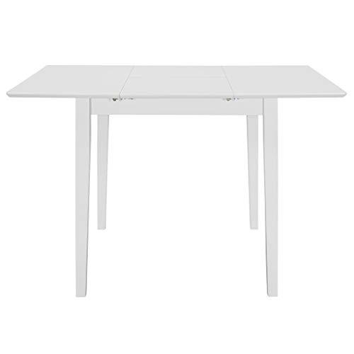 Tidyard Ausziehbarer Esstisch Küchen-Tisch, Balkon-Tisch, Garten-Tisch | Ausziehbarer Teak-Tisch, Esstisch für draußen,Abmessungen: (80-120) x 80 x 74 cm (L x B x H),Weiß