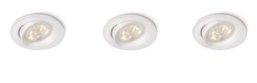 Philips myLiving Ellipse - Pack de 3 focos empotrables, LED, iluminación interior, IP20, luz blanca cálida, 15000 h, color blanco