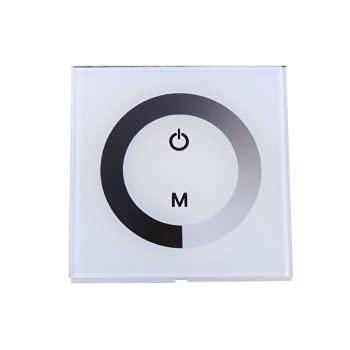 HelloCreate Interruptor de luz táctil, interruptor de atenuación único para luces LED, controlador de interruptor de pared de atenuador de panel táctil para tira de luz LED DC 12V-24V - blanco