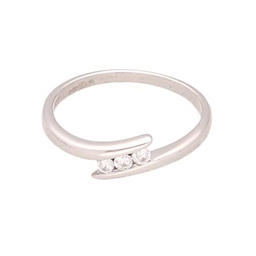 Anillo de oro blanco de 9 quilates con diamantes de imitación y cruz de tres piedras (tamaño M) de 5 mm de ancho   Anillo de lujo para mujer