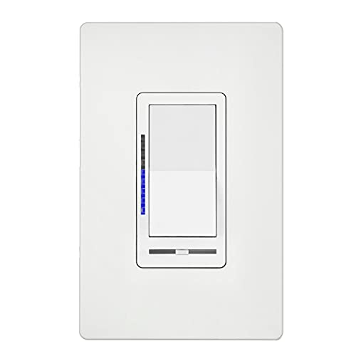 BESTTEN Digital Dimmer Switch with LED Indicator, Horizontal Dimming Slider Bar, Single Pole or 3-Way, for Dimmable LED Lights, CFL, Incandescent, Halogen Bulbs, UL Listed, White