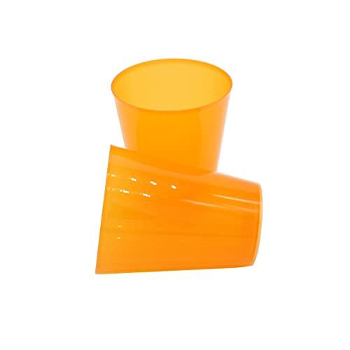 8around 25 Vasos plástico duro reutilizable libre de BPA de 470ml, naranjas translucidos, especial coctel mojito cubata agua sidra para fiestas camping playa picnic barcos hogar